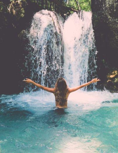 Wild swimming waterfall